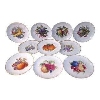 Vintage Gold-Rimmed Fruit Dessert Plates - Set of 10