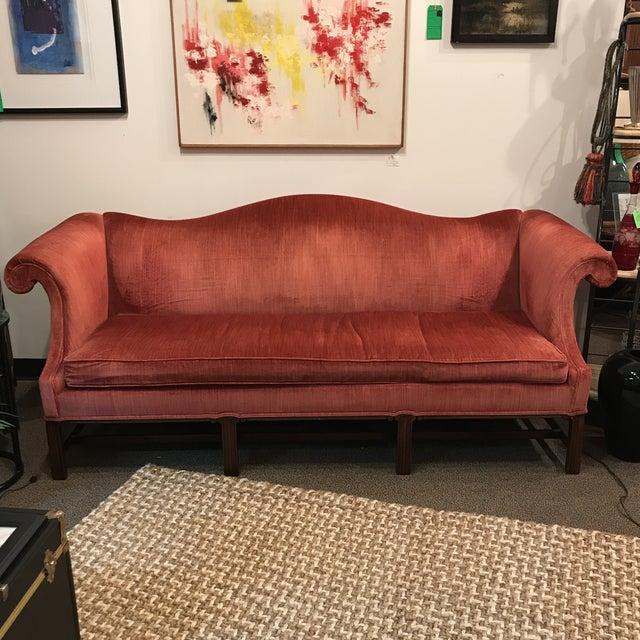 Hickory Chair Camel Back Velvet Sofa - Image 7 of 7