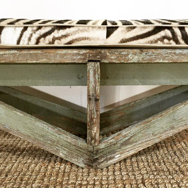 Extra Long Farmhouse Bench Amp Custom Zebra Hide Cushion