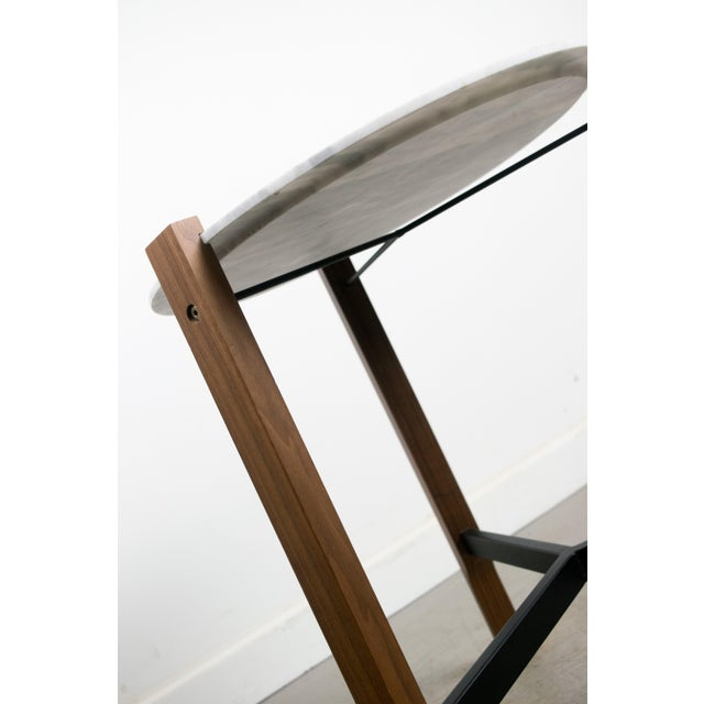 Minimalist Modern Teak and White Marble Side Table - Image 8 of 8