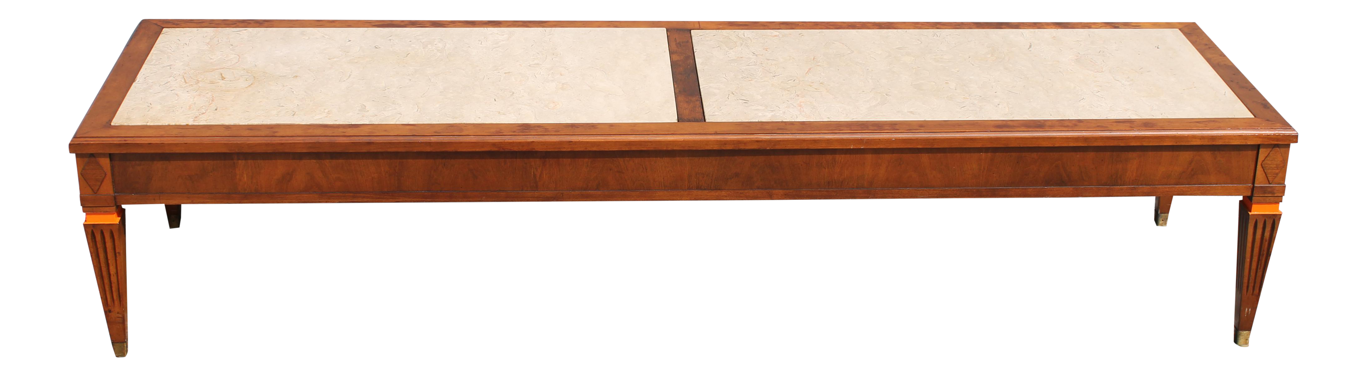 Mid Century Modern Stone Top Coffee Table   Image 1 Of 9