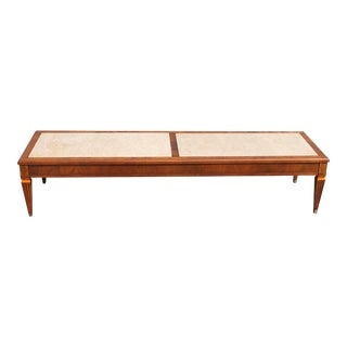 Mid-Century Modern Stone Top Coffee Table