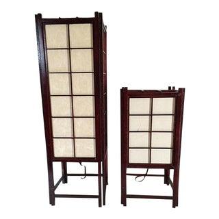 Japanese Shoji Windowpane Table Lamps - A Pair