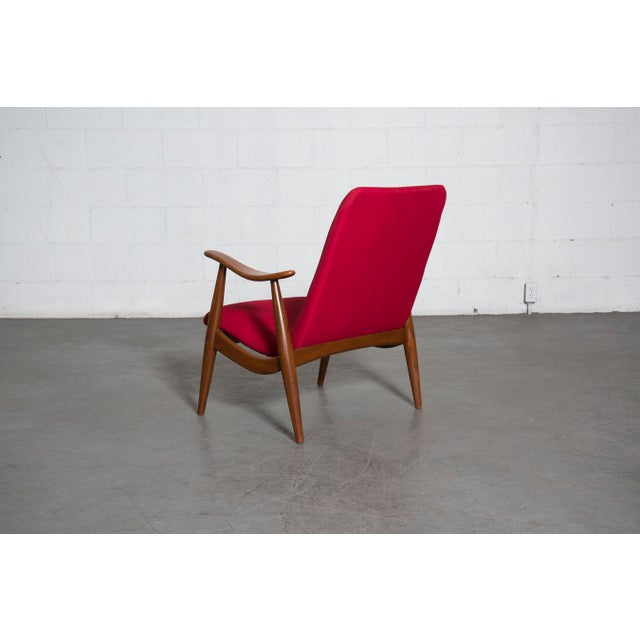 Mid-Century Magenta Upholstery Teak Lounge Chair - Image 5 of 10