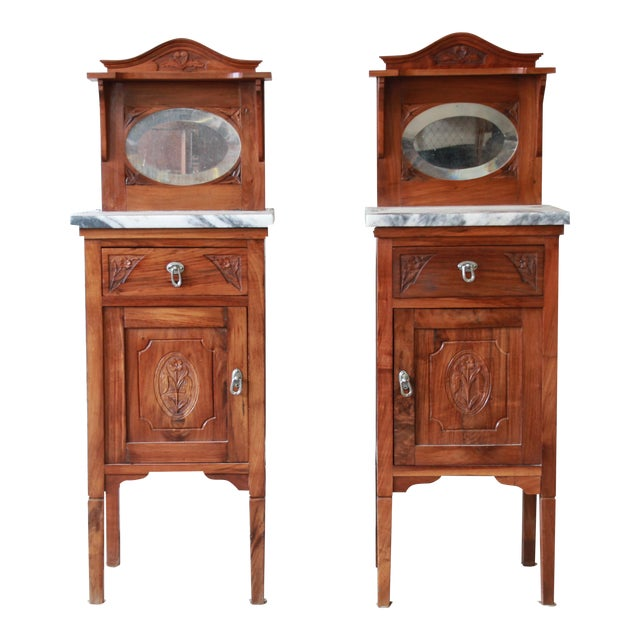 Image of Victorian Walnut & Marble Nightstands - A Pair