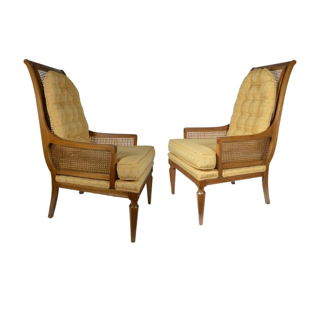 Mid-Century Cane Club Chairs - Pair - Image 1 of 6