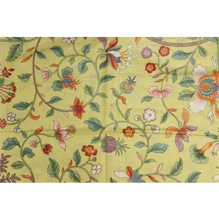 Vintage Porcelain Yellow Glazed Chintz Fabric With Floral Pattern