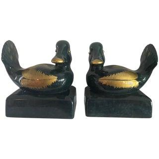 Pair of Italian Ceramic Gump's Duck Bookends