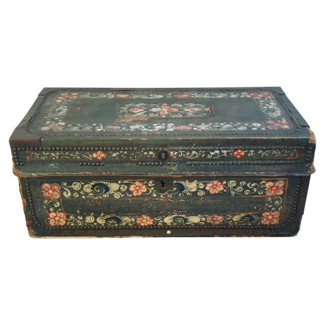 French 19th C. Hand Painted Leather Trunk - Image 1 of 10