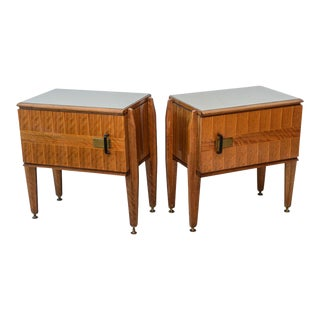Pair of Italian Modern Inlaid Mixed Wood and Bronze Night Tables, Dassi
