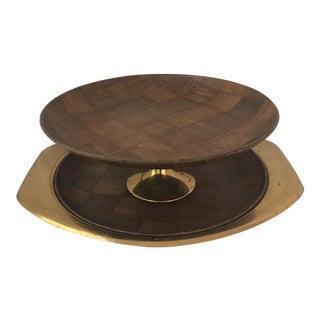 Wood & Brass Pedestal & Platter Set