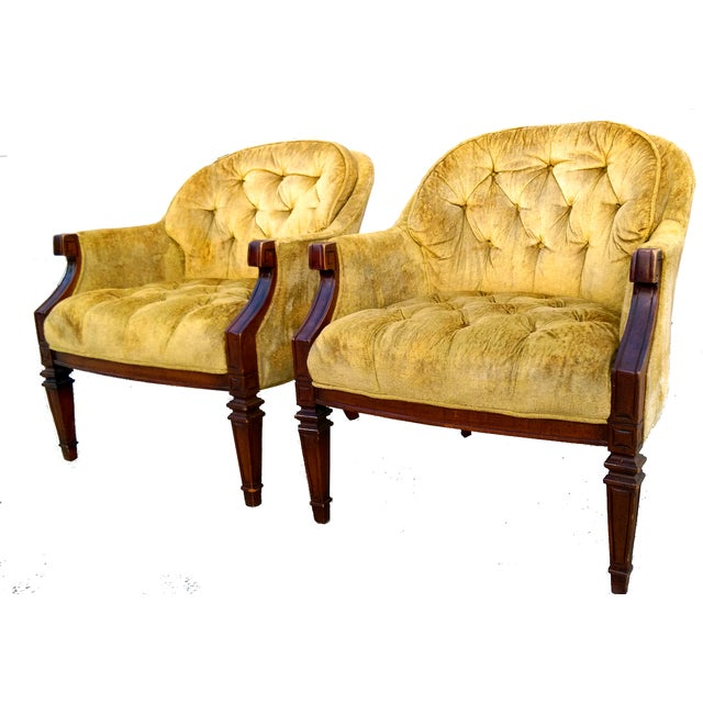 Image of Vintage Tufted Citrine Club Chairs- Pair