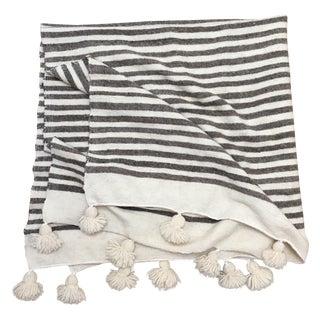 Handmade Ivory & Gray Moroccan Wool Pom Pom Throw