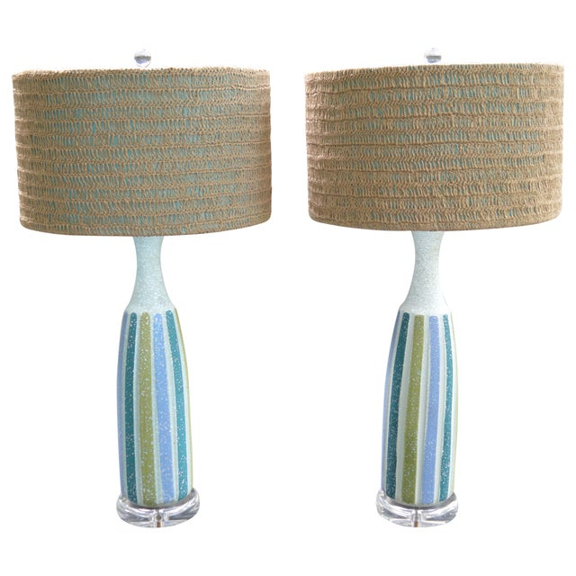 Vintage Mid-Century Striped Ceramic Lamps - A Pair - Image 1 of 8