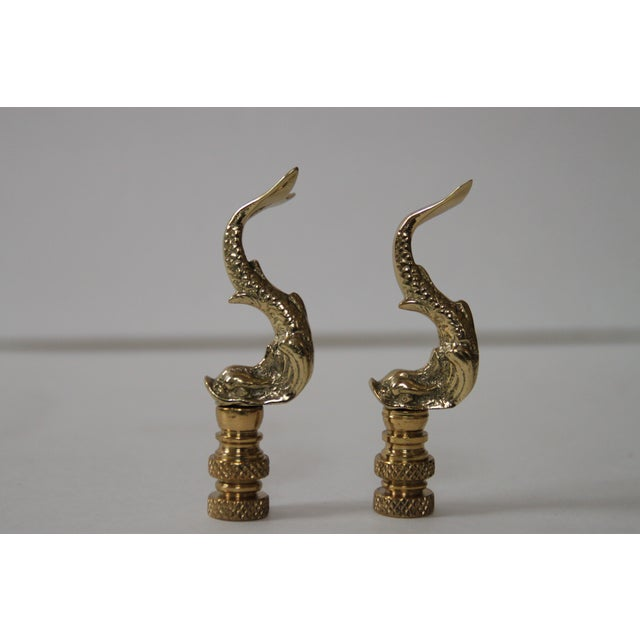 Brass Asian Dolphin Finials - Pair - Image 2 of 3
