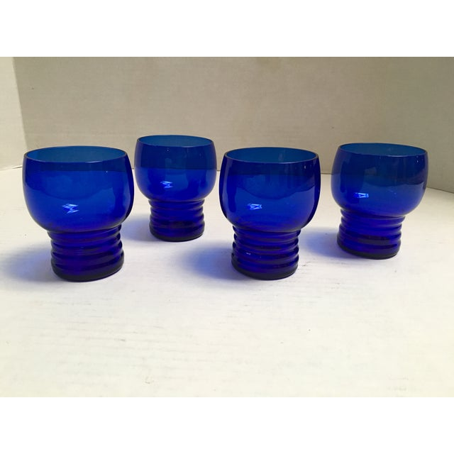 Blue Cobalt Mid-Century Cocktail Glasses- S/4 - Image 2 of 7