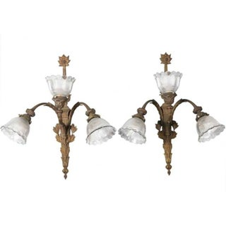 Antique Large French Rococo 3 Light Sconces - Pair