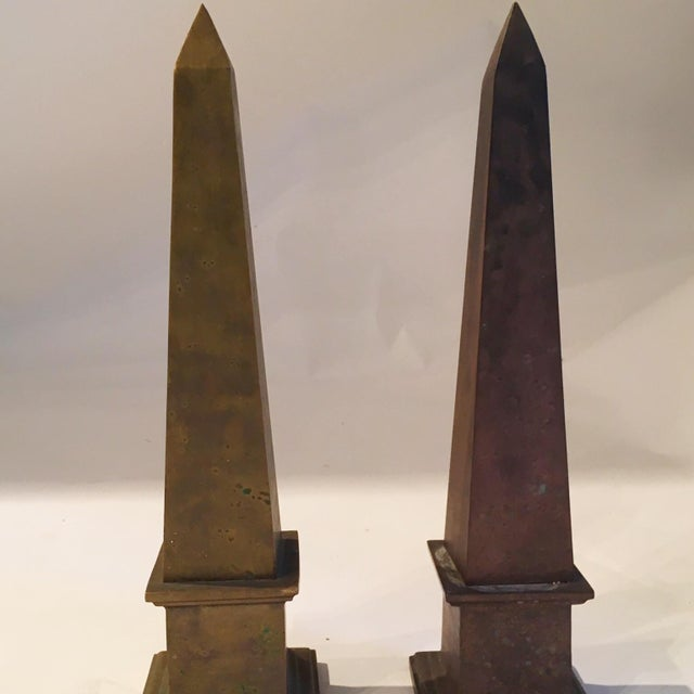 Image of Mid-Century Brass Obelisks - A Pair