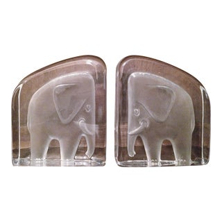 Nybro Sweden Crystal Elephant Bookends