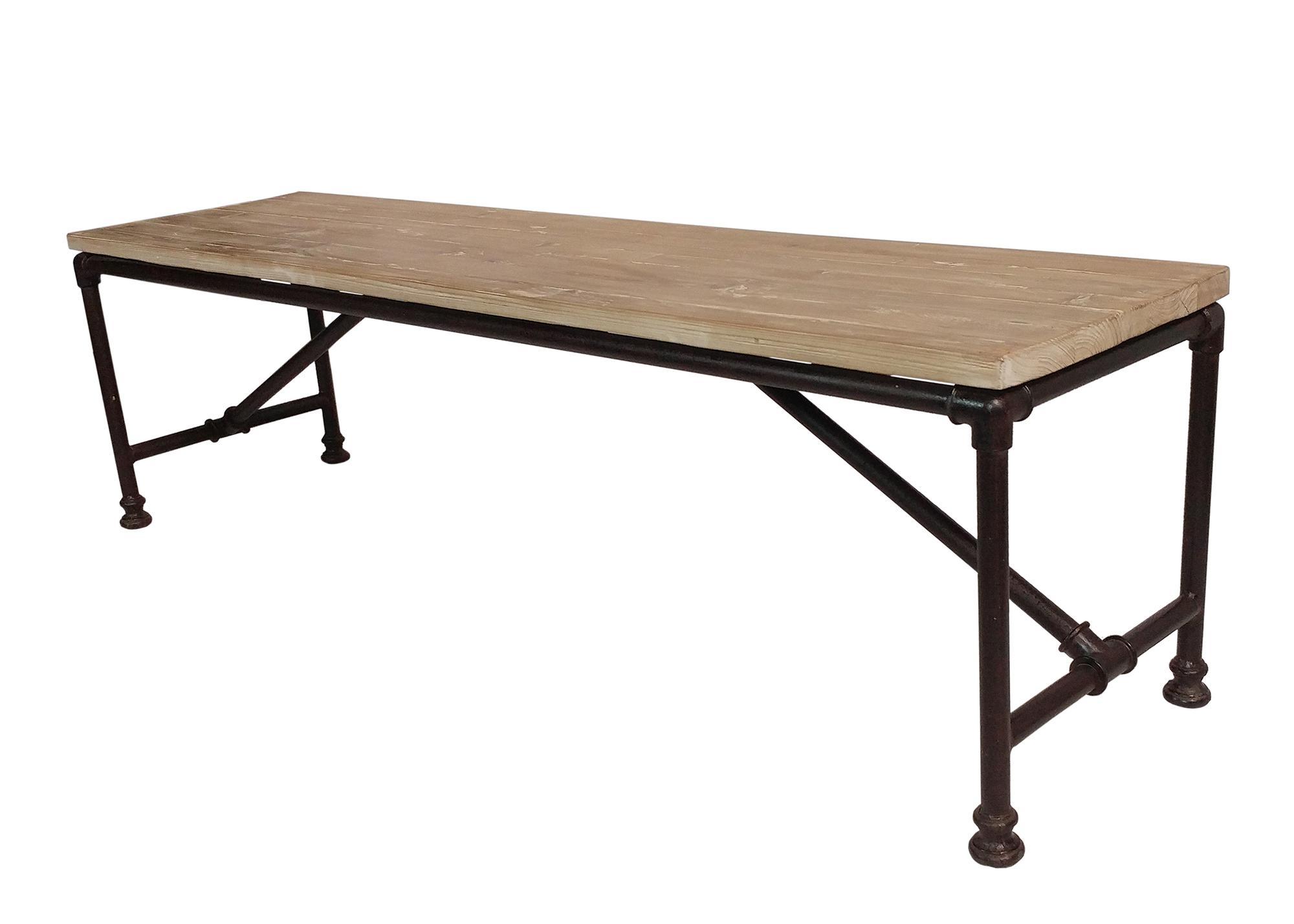 Reclaimed Wood Coffee Table W/ Metal Pipe Legs