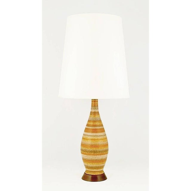 Pair of Striped Salt Glazed Pottery Table Lamps - Image 2 of 5