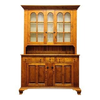 JL Treharn Tiger Maple Hutch China Cabinet Dish Dresser Cupboard