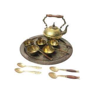 Vintage Thai Mid Century Brass & Wood Tea Set