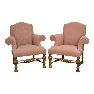 Jacobean Revival Style Club Chairs - a Pair