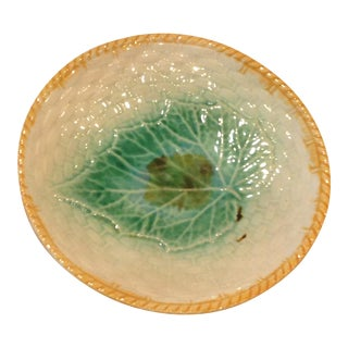 Majolica Pottery Plate With Leaf