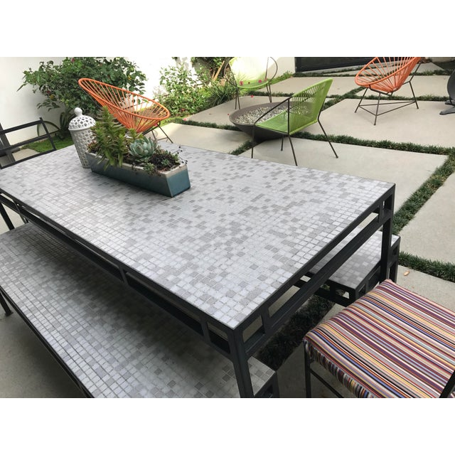Iron & Mosaic Tile Dining Set - Set of 5 - Image 8 of 11
