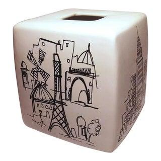 Black & White Paris & London Ceramic Scenic Tissue Box