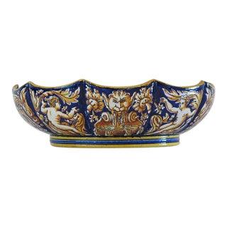 1865 Antique Gien French Renaissance Revival Faience Earthenware Scalloped Bowl