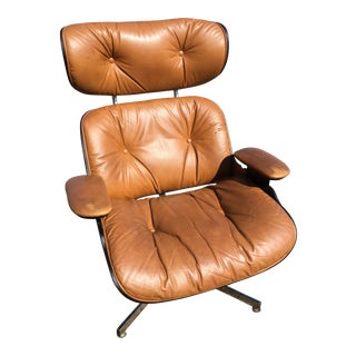Mid-Century Eames Style Brown Leather Plycraft Lounge Chair