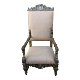 19th Century Grand Italian Painted Armchair
