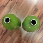 Image of Lime Green Crackle Gourd Vases - Pair