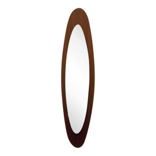 Elongated Teak Framed Mid-Century Wall Mirror, Italy circa 1975