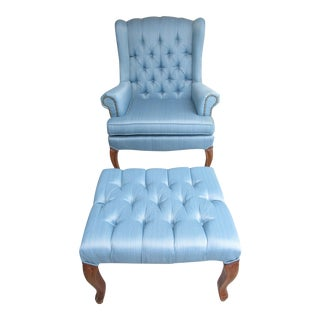 Tufted Wingback Chair with Brass Tacks and Ottoman