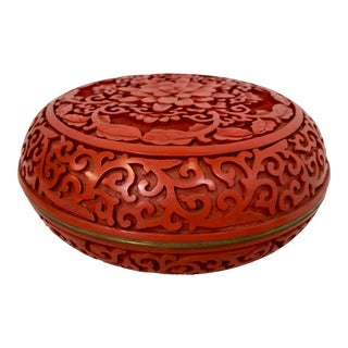 Carved Cinnabar Lacquerware Box