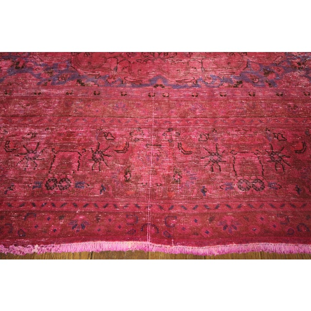 Pink Floral Overdyed Oriental Area Rug - 9' x 12' - Image 5 of 10