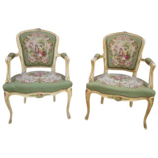 French Antique Painted Needlepoint Chairs - A Pair
