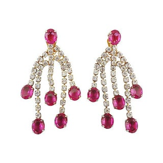 Couture Faux Ruby Chandelier Earrings