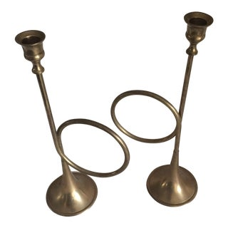 Vintage Bugle Candlestick Holders - Pair