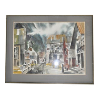 """1965 """"Swiss Village"""" Watercolor Painting by Jack Laycox"""