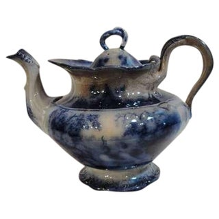 19th Century Flow Blue Rare India Pattern Tea Pot