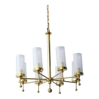 Fine Italian Modern Brass and Glass Ten-Light Chandelier