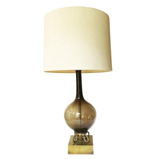Vintage Mid-Century Modern Smoky Glass Table Lamp