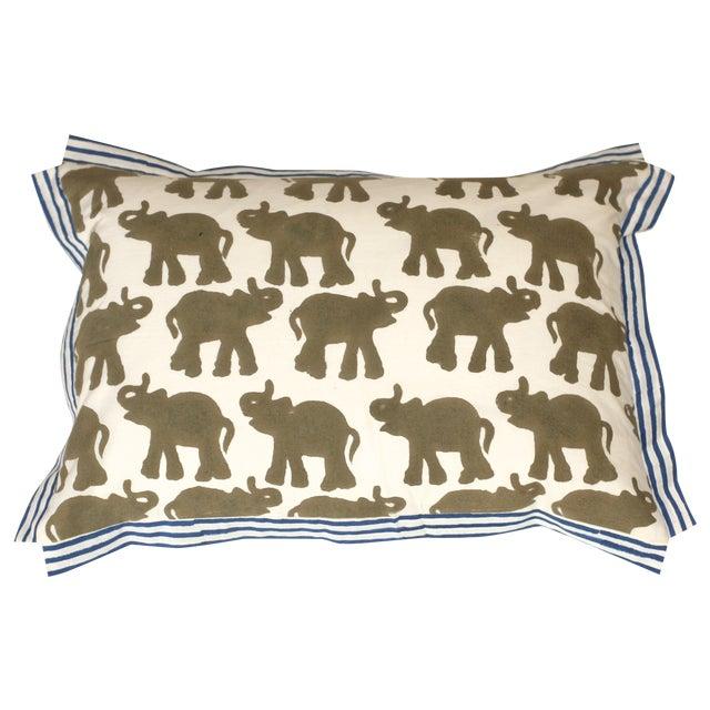 Block Printed Elephant Pillow - Image 1 of 4