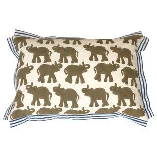 Block Printed Elephant Pillow