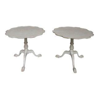 Pair of Pedestal Tables wit Pie Crust Tops (#62-54)