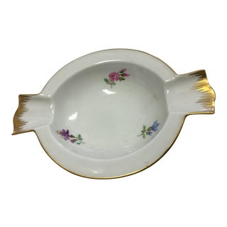 Gold Trimmed Floral Porcelain Ashtray